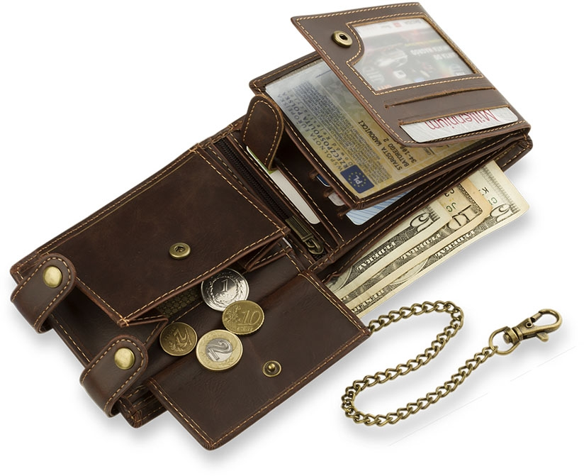 herren brieftasche in horizontaler ausf hrung mit kette. Black Bedroom Furniture Sets. Home Design Ideas