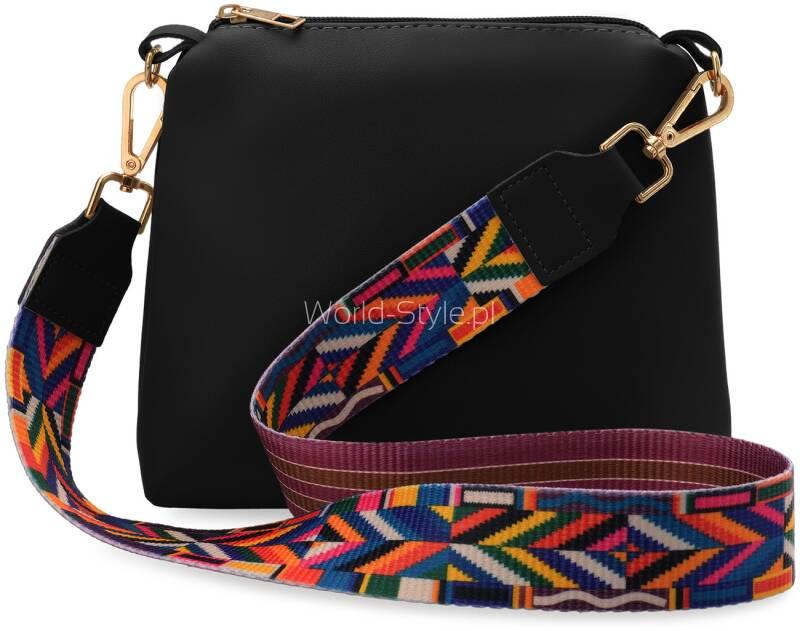 88a7198fd81b5 Zestaw składa się z małej torebki damskiej shopperki, listonoszki oraz  najmodniejszego w tym sezonie paska o kolorowym, azteckim wzorze.