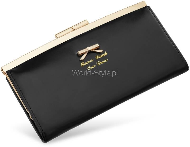 0688d2e72104e Uroczy damski portfel przeznaczony dla kobiet ceniących sobie szyk i  elegancje. Dzięki swym eleganckim wykończeniom idealnie posłuży Ci również  jako ...