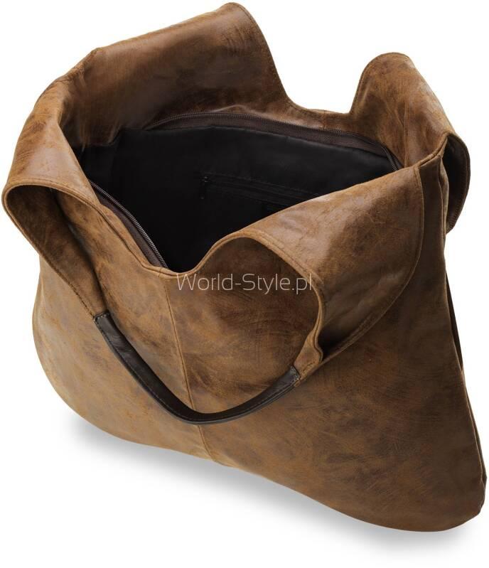 a8396593e68a5 Niezwykle piękna i modna torebka worek wykonana w 100% z wysokogatunkowej  miękkiej skóry naturalnej. Prosty krój i oryginalna fakturą zapewni  świeżość i ...