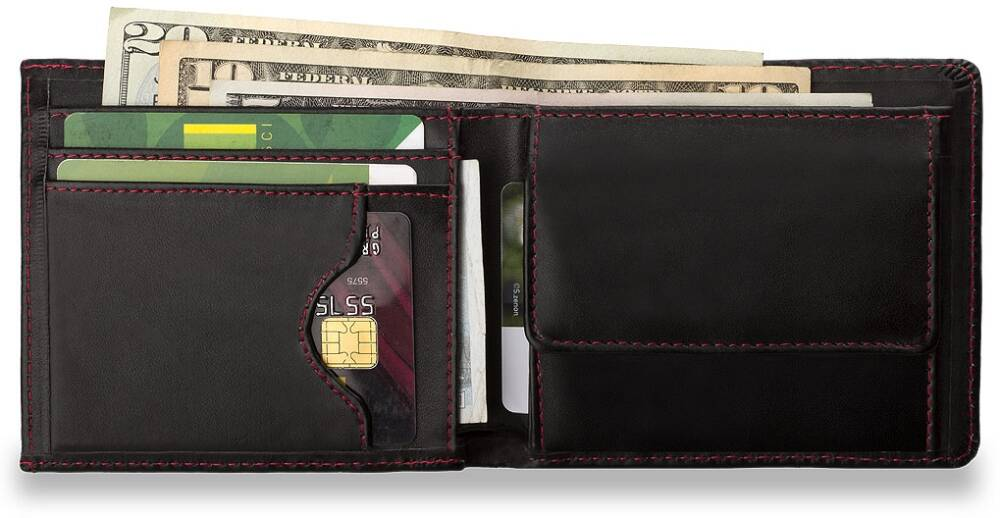 7ac0e906bf3e1 Ten portfel to idealny pomysł na oryginalny i ciekawy prezent. Portfel jest  w całości obszyty wytrzymałą czerwoną lub białą nicią