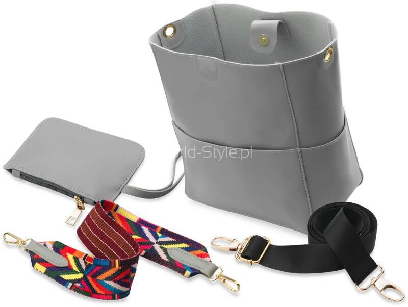 adde080664b60e Najmodniejsza w tym sezonie torebka damska o fasonie worka z dwoma  parcianymi paskami – jednym, dłuższym, cieńszym, do zawieszenia u boku oraz  drugim ...