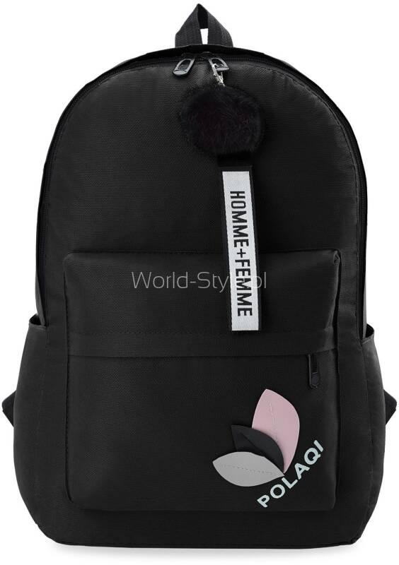 2246875fa607d Dziewczęcy plecak szkolny o prostym designie z ozdobnymi elementami. W  zestawie modny breloczek z parcianym paseczkiem oraz pomponik.